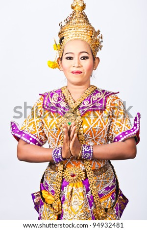 Portrait Thai Dancing Art ,Khon Thai Classical masked ballet in white background - stock photo