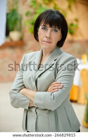 Portrait the business woman brunette - stock photo