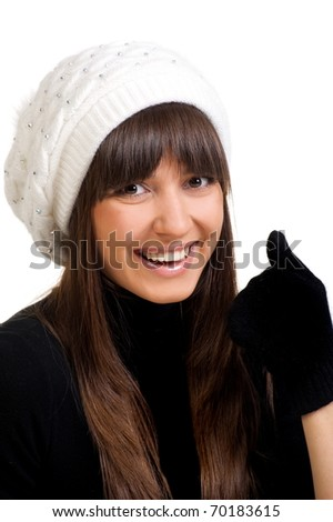 Portrait to beautiful sexual girl in hat and mitten on white background