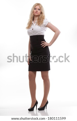portrait to stand beautiful blonde business woman or elegant student girl isolated on  white background