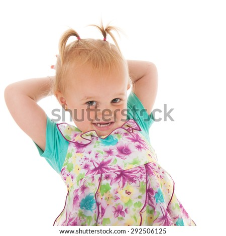 Portrait toddler girl isolated over white background