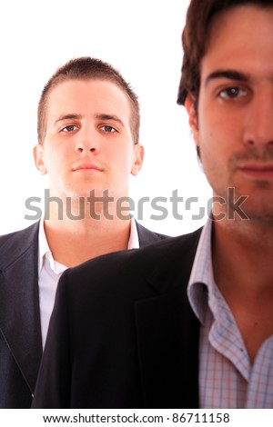 Portrait two business men working together, isolated on white - stock photo