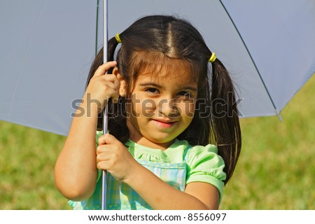 Portrait Under the Umbrella - stock photo