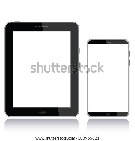 portrait view illustration of a tablet pc and smart phone with white screen for copyspace,isolated in white background. - stock photo