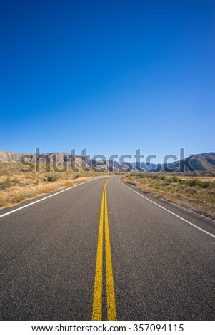 Portrait View of Highway Road - stock photo
