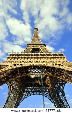 Portrait view of the Eiffel Tower in Paris, France. - stock photo