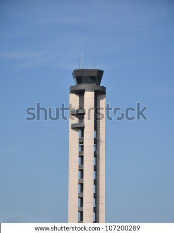 Portrait view of the Raleigh Durham International Airport traffic control tower in North Carolina - stock photo