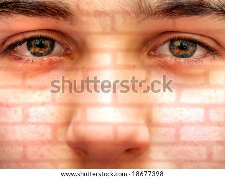 Portrait with brick texture - stock photo