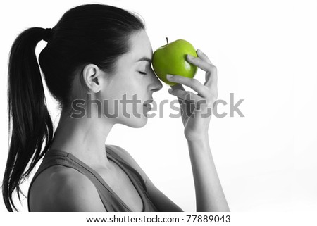 portrait with green apple - stock photo