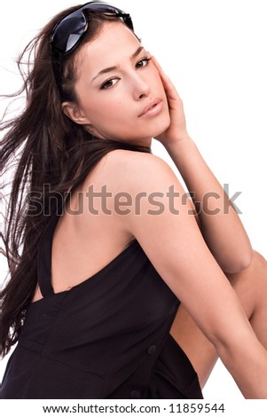 portrait with sunglasses and summer dress, studio - stock photo