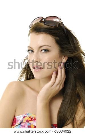 portrait with sunglasses �close up - stock photo