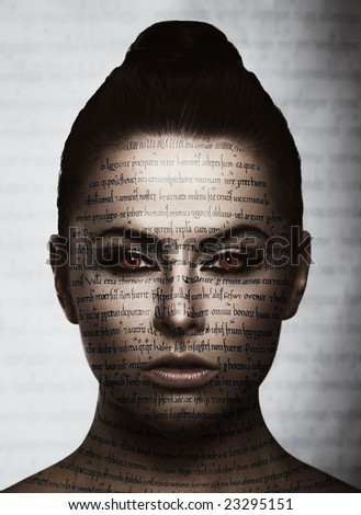 portrait with tattooed letter - stock photo