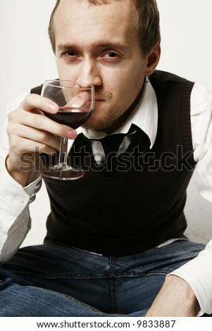 Portrait with wine - stock photo