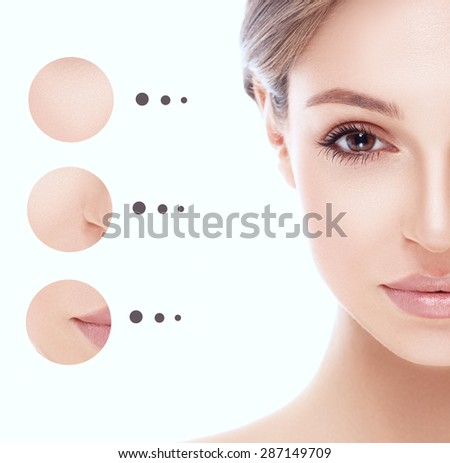 Portrait woman half-face with problem and clear skin, youth concept  - stock photo