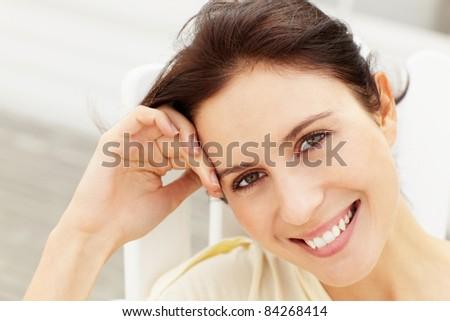 Portrait woman outdoors - stock photo