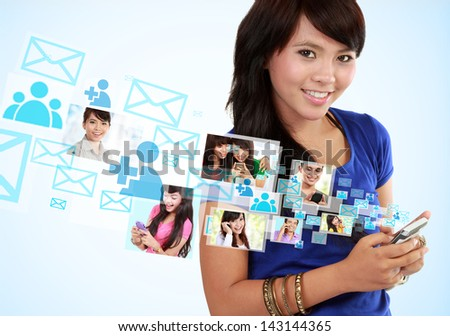 Portrait woman using mobile phone, text messaging, social media, on mobile phone - stock photo