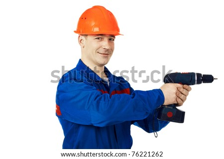 Portrait work man in work-wear with instrument and drill against white