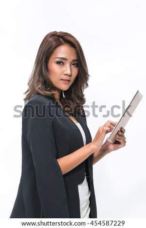 Portrait young attractive businesswoman working with digital tablet.(Isolated on white background)