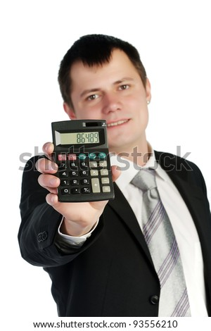 Portrait young business man working with a calculator