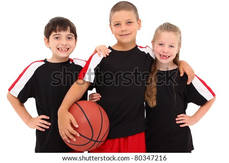 Portrait young child boy girl basketball team together smiling. - stock photo