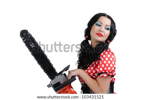 Portrait young girl in style pinup with electric saw on white background - stock photo