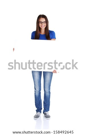 Portrait young happy woman with blank board , isoalted on white - stock photo