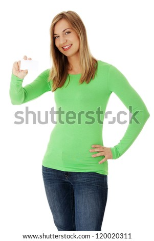 Portrait young happy woman with blank card , isolated on white - stock photo