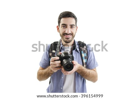 Portrait young man with camera. Isolated on white background - stock photo