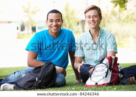 Portrait young men outdoors - stock photo