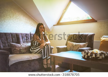 Portrait Young thoughtful woman - stock photo