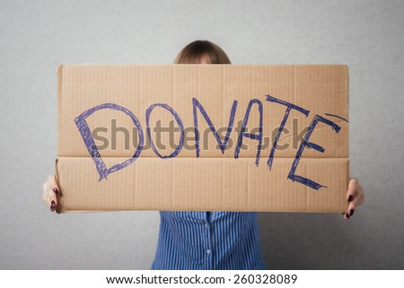 Portrait  young woman  donation - stock photo