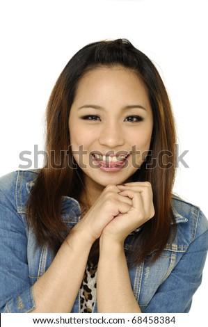 portrait young woman face - stock photo
