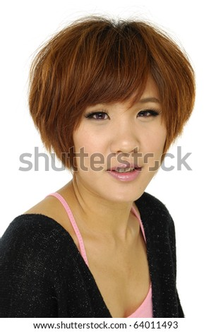 portrait young woman face expression on white - stock photo