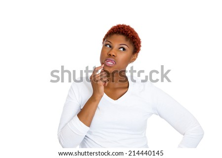 Portrait young woman thinking daydreaming something, plotting revenge looking away, isolated white background. Human emotions, facial expressions feeling, reaction, life perception, body language - stock photo