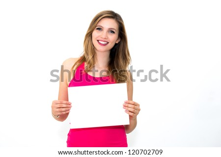 portrait young woman with board
