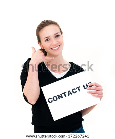 portrait young woman with board contact us - stock photo