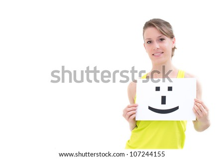 portrait young woman with board Smile face sign - stock photo
