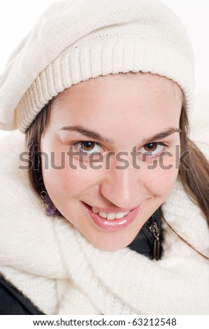 Portrait young woman with winterhood and scarf