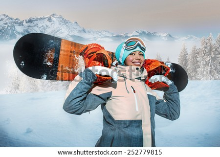 Portraite of sport woman in snowy mountains - stock photo