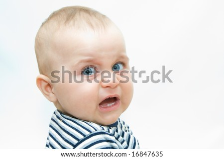 portraits of a baby boy on white background - stock photo