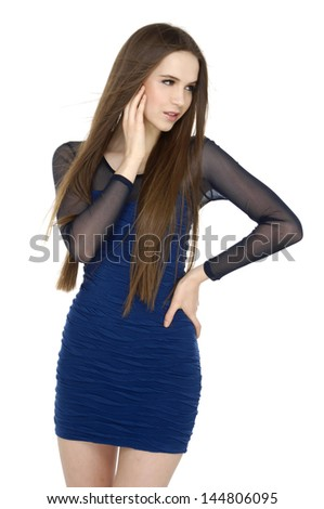 Portraits of a beautiful girl with smooth long straight hair, posing