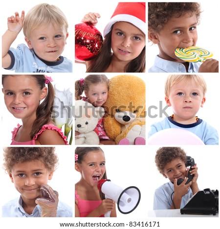 portraits of children - stock photo