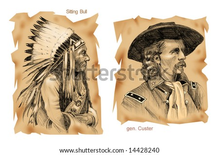 Portraits of commanders of Little Big Horn battle: Sitting Bull and Custer - Ancient style - stock photo