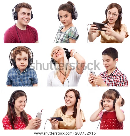 Portraits of different smiling people listening to something on headphones - stock photo