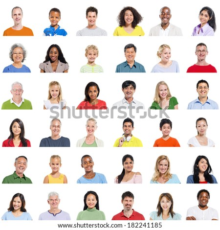 Portraits of Diverse Multi-Ethnic World People - stock photo