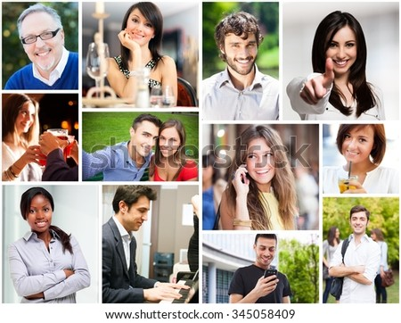 Portraits of happy smiling people in different situations - stock photo