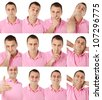 Portraits of man with pink shirt in multiple face expressions and gestures - stock photo