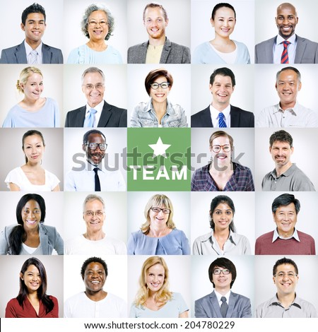 Portraits of Multiethnic Diverse Business People - stock photo