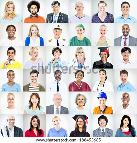 Portraits of Multiethnic Mixed Occupations People - stock photo