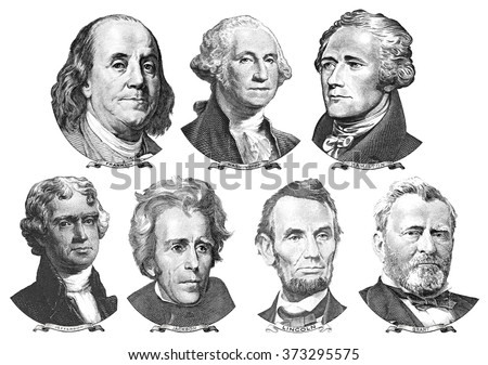 Portraits of presidents and politicians from dollars - stock photo